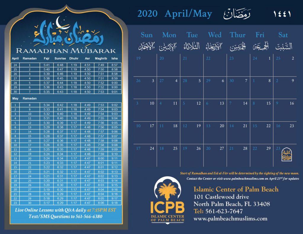 ICPB Ramadan 1441 2020 Calendar