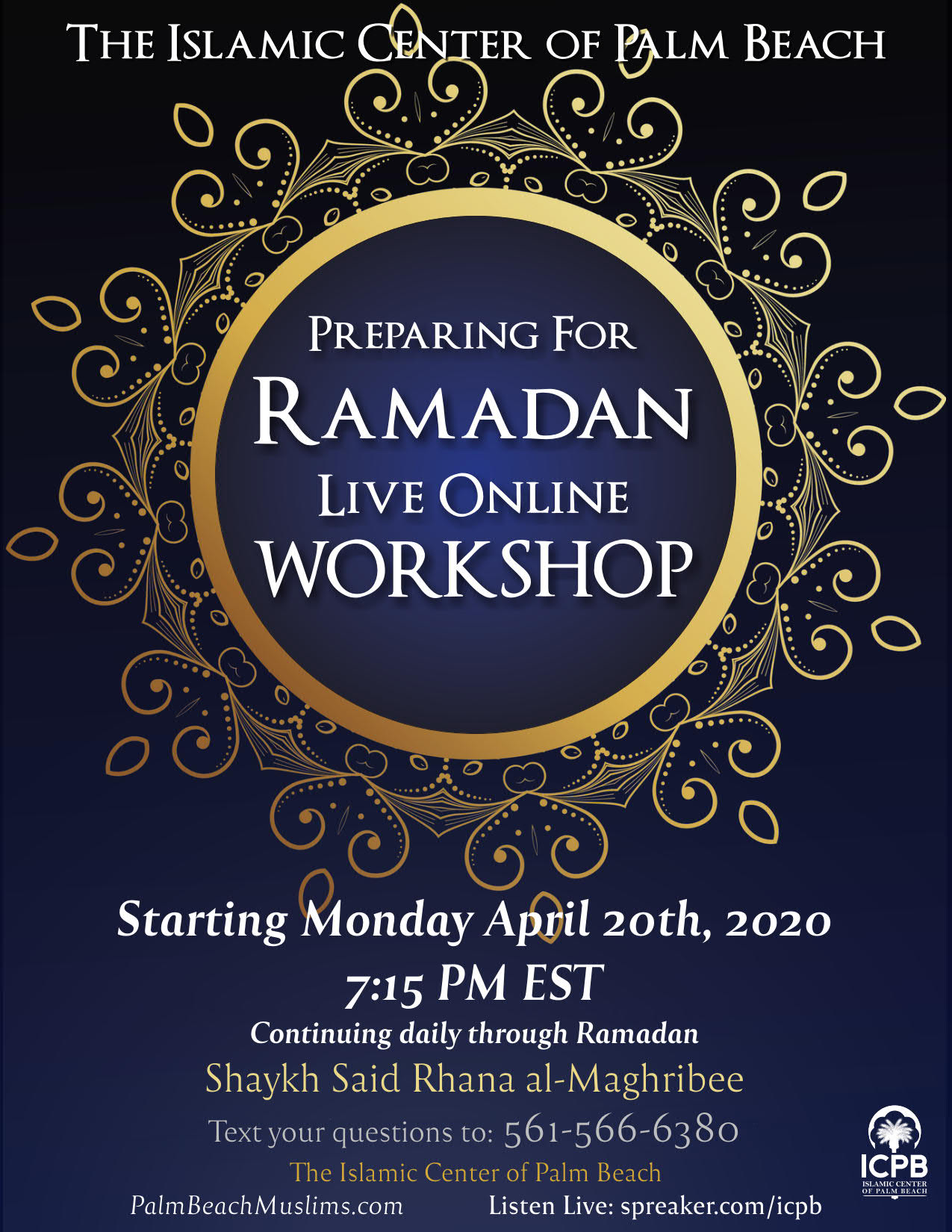ICPB Live Online Ramadan Workshop 1441 2020