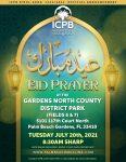 ICPB Eidul-Adha Salah Tuesday July 20th, 2021 at Gardens North County District Park at 8:30AM